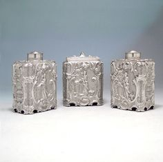A Set of George III Antique English Silver Tea Caddies & Bowl,  Maker: Thomas Heming,  Place: London,  Date: 1752