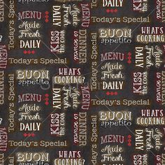SPX Fabrics Buon Appetito - BAVLNA - Nápisy TM.ŠEDÉ CHARCOAL  8b0483c8c9