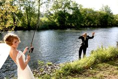 Bride fishing for husband! I adore this... I need to try it, maybe I'll hook a good one!