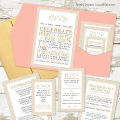 Complete custom suite with pink pocket card and gold envelopes. Glitter gold and blush pink make this design unique and elegant. Created by Jeneze Designs. How To Write Wedding Invitations, Wedding Invitation Wording Examples, Typography Wedding Invitations, Wedding Invitation Samples, Photo Invitations, Wedding Invitation Design, Gold Envelopes, Pocket Invitation, Blush And Gold