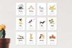 2018 calendar with cute dogs by Cartoon time! Pencil Illustration, Graphic Illustration, Illustrations, Cartoon Styles, Cute Cartoon, Puppy Room, Dog Calendar, Dog Years, Animal Faces