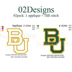 Baylor Bears logo 02 designs in 1 applique + fill stitch embroidery design… ✖️More Pins Like This One At FOSTERGINGER @ Pinterest✖️