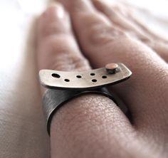 Silver ring made to orderoxidizedsilversmithdot by ZizouArT