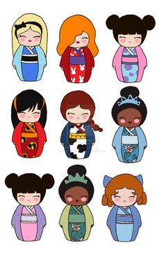 Alice Jessica Rabbit Boo in Sully costume (from Monster's Inc) Violet (from the Incredibles) Jessie (from toy Story Tiana in blue dress (from the Frog Princess) Boo in monster disguise Tiana in green dress Wendy from Peter Pan Matryoshka Doll, Kokeshi Dolls, Cross Stitch Disney, Japan Crafts, Tilda Toy, Jessica Rabbit, Thinking Day, Little Doll, Kawaii Drawings