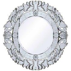 """Meriet Etched Glass 31 1/2"""" Round Wall Mirror"""