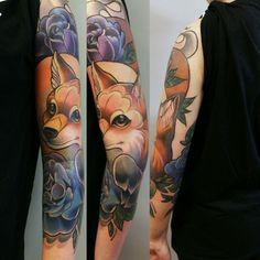 #neo #traditional #fox #tattoo