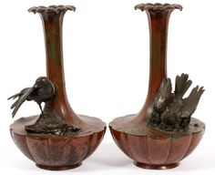 Lot: A PAIR OF JAPANESE BRONZE VASES 19TH.C., Lot Number: 041008, Starting Bid: $450, Auctioneer: DuMouchelles, Auction: Fine & Decorative Arts, Furniture, Jewelry, Date: April 8th, 2017 CEST