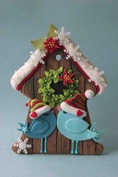Birds in love christmas cookie by Lyuba Zlatkova