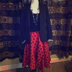 Red/black polka dot skirt small Hell Bunny polka dot retro style skirt. Size small 0-2. 32 inches from waist. This can be for a casual day or dress up day. You decide. Has only been dry cleaned, still has tag on it from cleaners. Only the skirt is for sale. Skirts