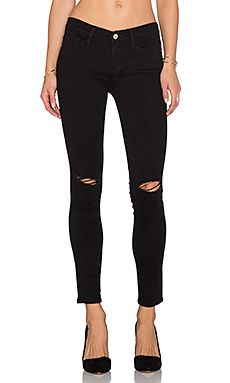 FRAME Denim Le Skinny Satine in Vian Ripped
