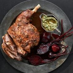 Anchovy roasted leg of lamb with green pesto