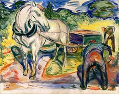 Edvard Munch, Digging Men with Horse and Cart, 1920