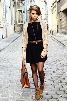 Black dress, brown tights, neutral sweater/cardigan, and a belt to tie it all together!