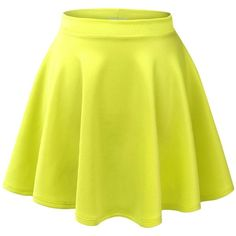 Made By Johnny Women's Basic Versatile Strechy Flared Skater Skirt (410 DOP) ❤ liked on Polyvore featuring skirts, saias, bottoms, faldas, skater skirt, flared hem skirt, circle skirt, yellow skirt and yellow skater skirt