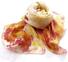 Summer Fashion hand painted silk scarf stole in Peach by HEraMade, $35.00