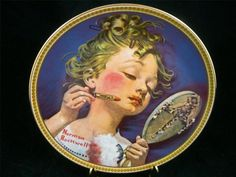 Edwin Knowles Norman Rockwell Making Believe at the Mirror LTD China Plate EUC