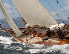 """""""Eilean""""- 2015 Argentario Sailing Week is the second venue of the Panerai Classic Yachts Challenge's Mediterranean Circuit. Forty-nine vintage, classic and spirit of tradition yacht have already registered Classic Sailing, Classic Yachts, Catamaran, Race Around The World, Yacht Boat, Set Sail, Luxury Yachts, Wooden Boats, Tall Ships"""