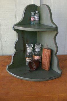 Vintage Primitive Corner Cabinet Countertop Apothecary Curio Shelf Spice Rack Cupboard