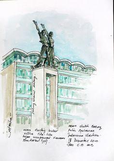 jatmika sketch & drawing: Bundaran HI Jakarta City, Sketch Drawing, Sketchers, Design Art, Places To Visit, Urban, Watercolor, Drawings, Anime