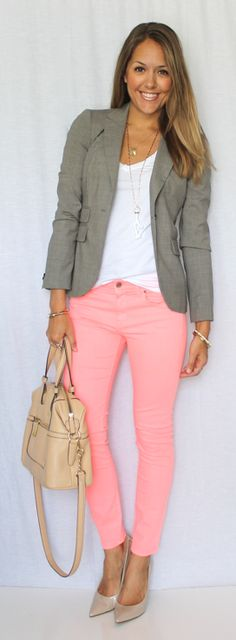 Pink jeans, white tee, and gray blazer.  Pair it with nude heels and you have a great summer combination.