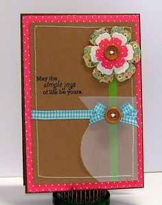 handmade card ... vellum vase with and single flower .... layers of die cut paper form a flower ... kraft base ... Stampin' Up!