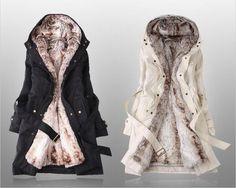 Зимнее пальто с подстежкой из меха пехора