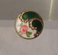 Antique French Enameled Button Pin Champleve Gilt Bronze Green Enamel Flower