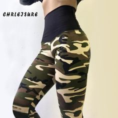 High Waist Leggings Women Camouflage Casual Polyester Push Up Work Out Print Jegging Adventure Time Fold Legging Army Green XL Women's Sports Leggings, Camouflage Leggings, Girls Leggings, Women's Leggings, Leggings Are Not Pants, Camouflage Fashion, Running Pants, Yoga Pants, Womens Workout Outfits