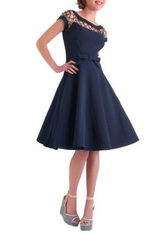 Bettie Page Clothing - Bettie Page Clothing - Alika navy circle dress TATYANA Pin Up Outfits, Pin Up Dresses, Dress Me Up, Pretty Dresses, Dress Outfits, Cute Outfits, Dress Shoes, Vestidos Vintage Retro, Retro Vintage Dresses