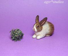 OOAK 1:12 Dollhouse Miniature Rabbit Bunny Dutch Pet Furred Handmade Realistic