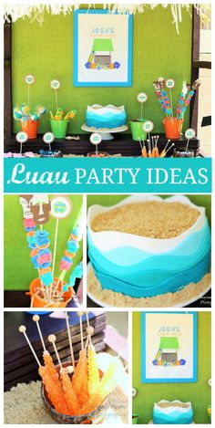 A blue and green luau birthday party for a surfer boy with fun food ideas and surfboards!  See more party ideas at CatchMyParty.com!