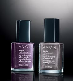 Avon Suede Nail Polish - available in 6 fun colors. Goes on smoothly and dries as a soft, suede finish! www.youravon.com/crystalcavanaugh