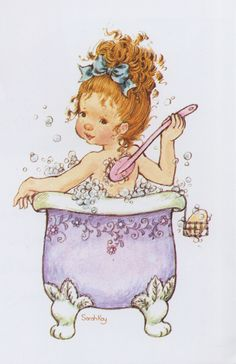Sarah Kay: Girl taking a bath Sarah Key, Holly Hobbie, Sara Key Imagenes, Cute Images, Cute Pictures, Decoupage, Cute Illustration, Vintage Pictures, Vintage Cards