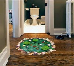 Effect Pond Fish Lotus Removable Bedroom Bathroom Floor Stickers Waterproof Wall Decals Living Room Mural Decor Bathroom Wall Stickers, Wall Decals For Bedroom, Kid Bathroom Decor, Removable Wall Stickers, Mural Wall Art, Wall Stickers Home Decor, Wall Stickers Murals, Bedroom Stickers, Wallpaper Stickers