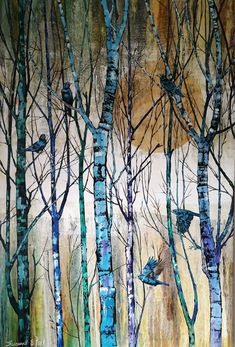 Oil on canvas. Birches, Starling, Collaboration, Oil On Canvas, Blue, Painting, Art, Painted Canvas, Painting Art