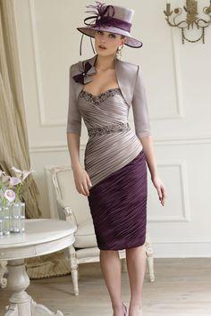 Sheath/Column Elastic Silk Like Satin Sweetheart Natural Waist Knee-Length�Mother of The Bride Dress With a Wrap