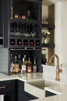 Wine glass storage, bars for home, basement remodeling Basement Bar Designs, Home Bar Designs, Basement Ideas, Basement Bars, Wet Bar Designs, Finished Basement Designs, Modern Basement, Basement Makeover, Diy Home Bar