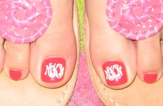 toe nail monograms- use the cricut to cut out your own!!