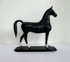 exceptional early 20th century american folk art carved and painted wooden horse sculpture primitive naive hand carving 1930s 1940s