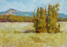 "Daily Paintworks - ""Wyoming Pines"" - Original Fine Art for Sale - © Melanie Thompson"
