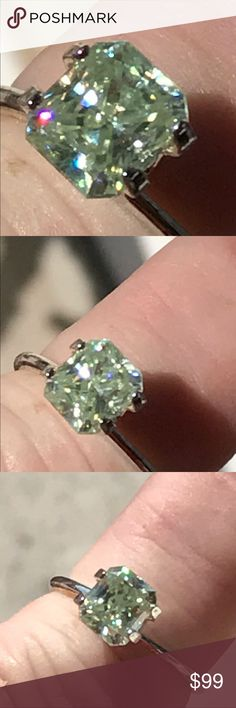 1.33 ctw cushion cut Moissanite Gorgeous off white / yellow cushion cut stone. Vvs clarity really beautiful.this is a loose stone no setting Jewelry Rings
