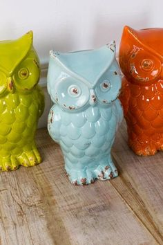 Owl trios are great options for #fallhomedecor #earthboundtrading