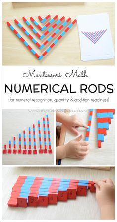 Montessori number rods for preschoolers
