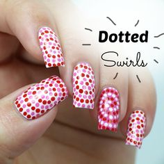 Easy Dotted Swirls Nail Art, perfect nails for Valentine's Day (for begi...