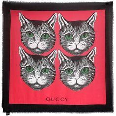 Mystique Chat Foulard En Soie Imprimé - Gucci Blanc IlWXf8KP57