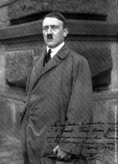 A photograph of Adolf Hitler, signed by him for a member of the SA. (Photo by Hulton Archive/Getty Images). 1923