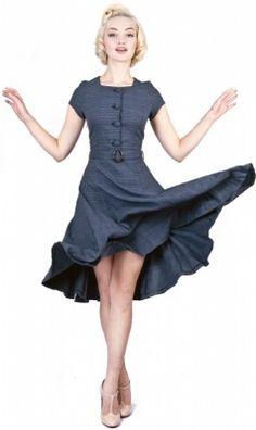 Collectif Simone Houndstooth Doll Dress blue   Jurken   Miss Vintage   Retro, vintage geïnspireerde dames kleding