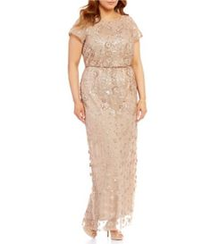 7a9a5708575 Brianna Plus Round Neck Short Sleeve Sequined Blouson Gown