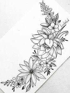 Floral flower drawing black and white illustration line open mightylinksfo