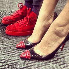 His: Red Studded Louboutin Sneakers                                                                  Hers: Louboutin 'Geo' Pumps ༝༚❤༝༚                                                                                                                                         ・⚤・ℍ!Ž.&.HëR'ź・⚤・